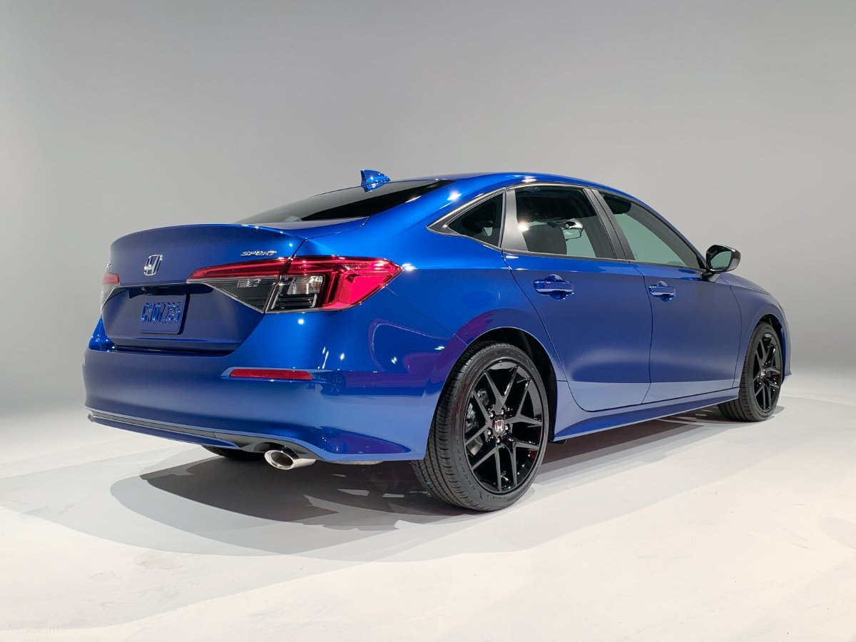 2022 Honda Civic Sport Blue Rear Quarter View