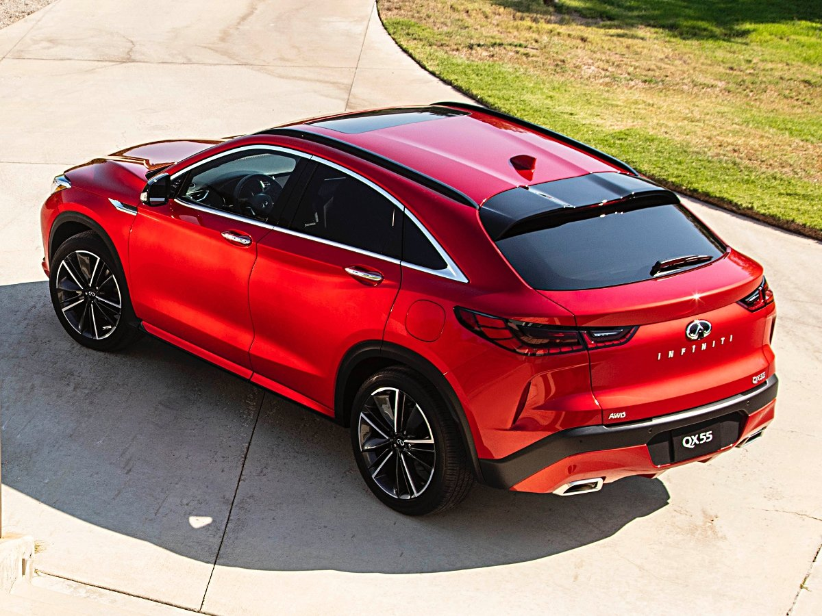 2022 Infiniti QX55 Red Rear Aerial View