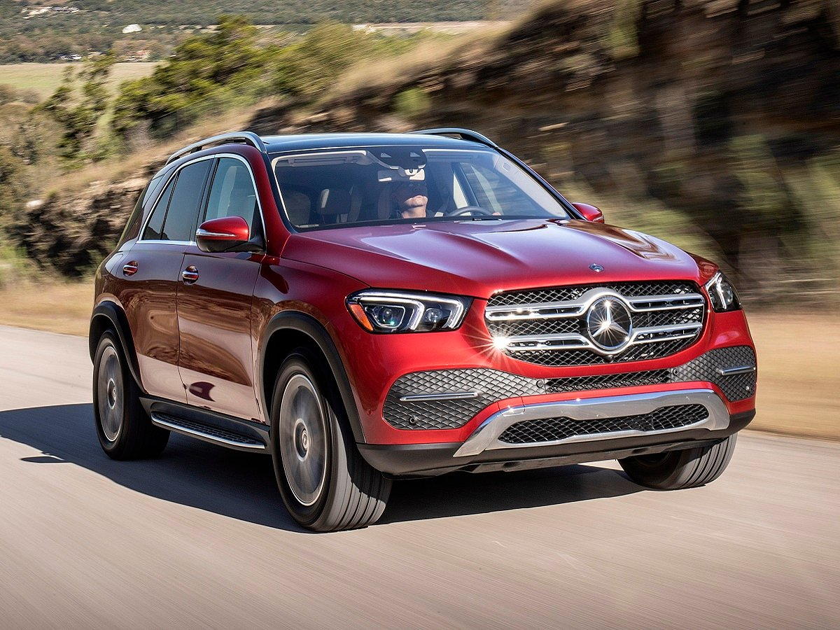 2022 Mercedes-Benz GLE 450 4Matic Red Front Quarter View Action