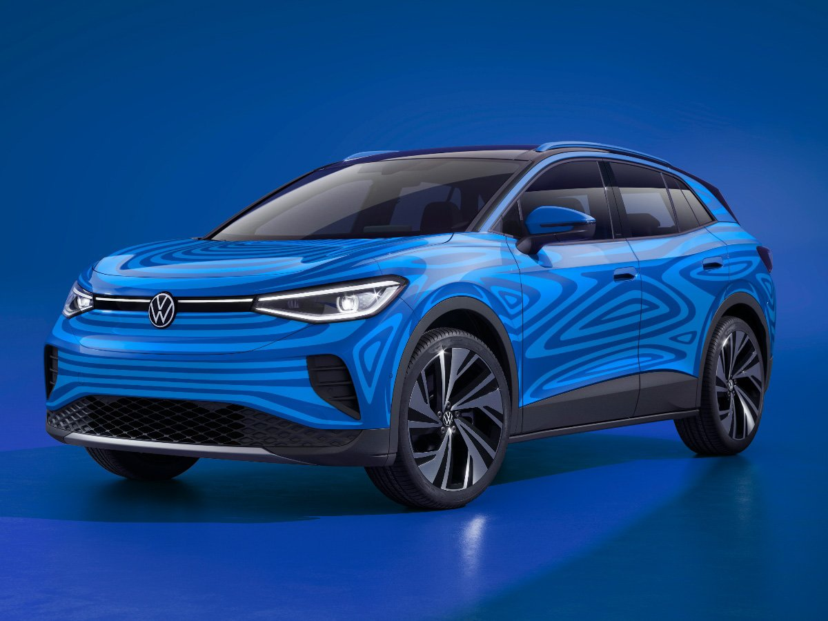 2022 Volkswagen ID.4 electric SUV in blue