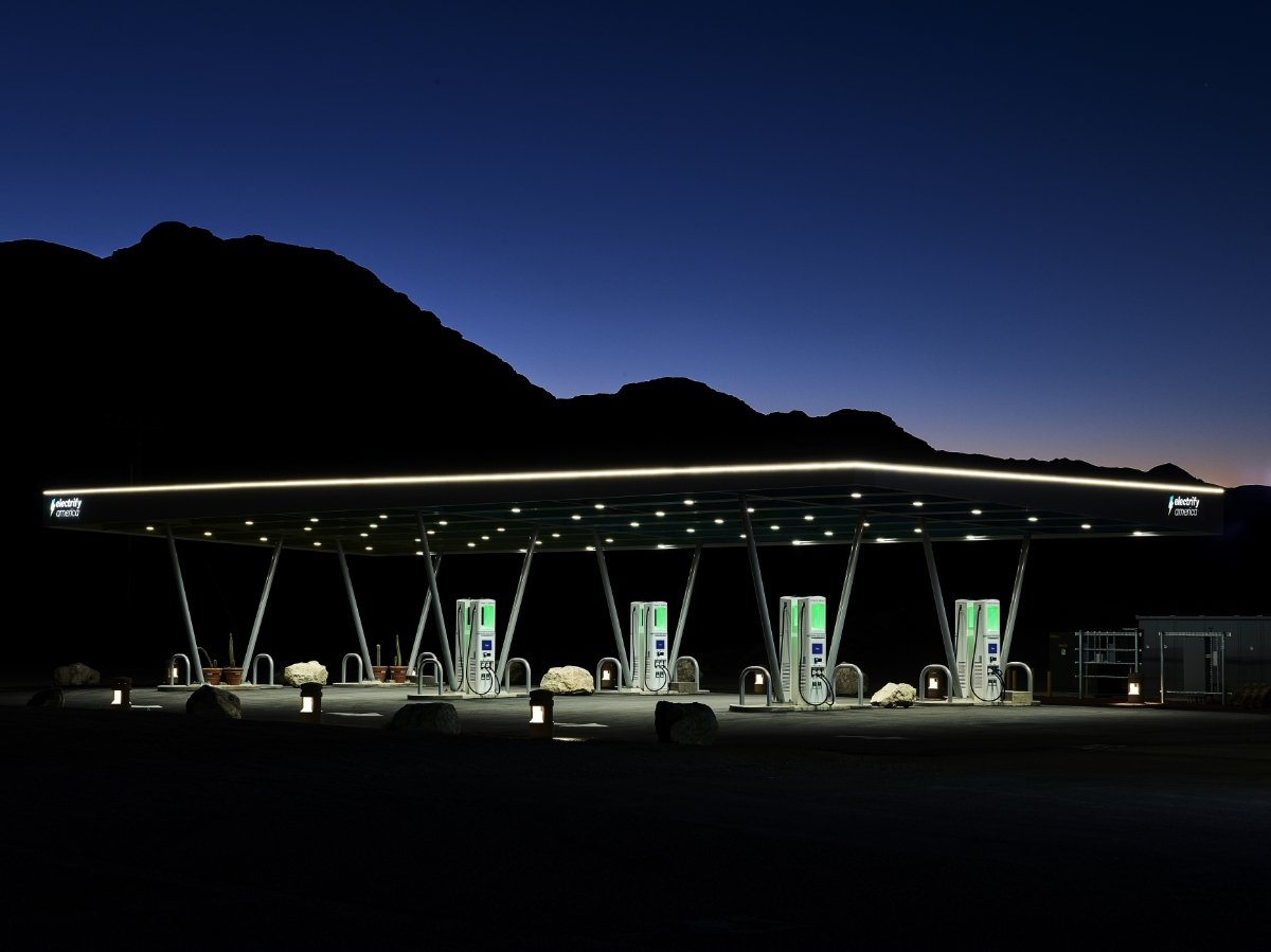 Electrify America Charging Station in Desert at Dusk
