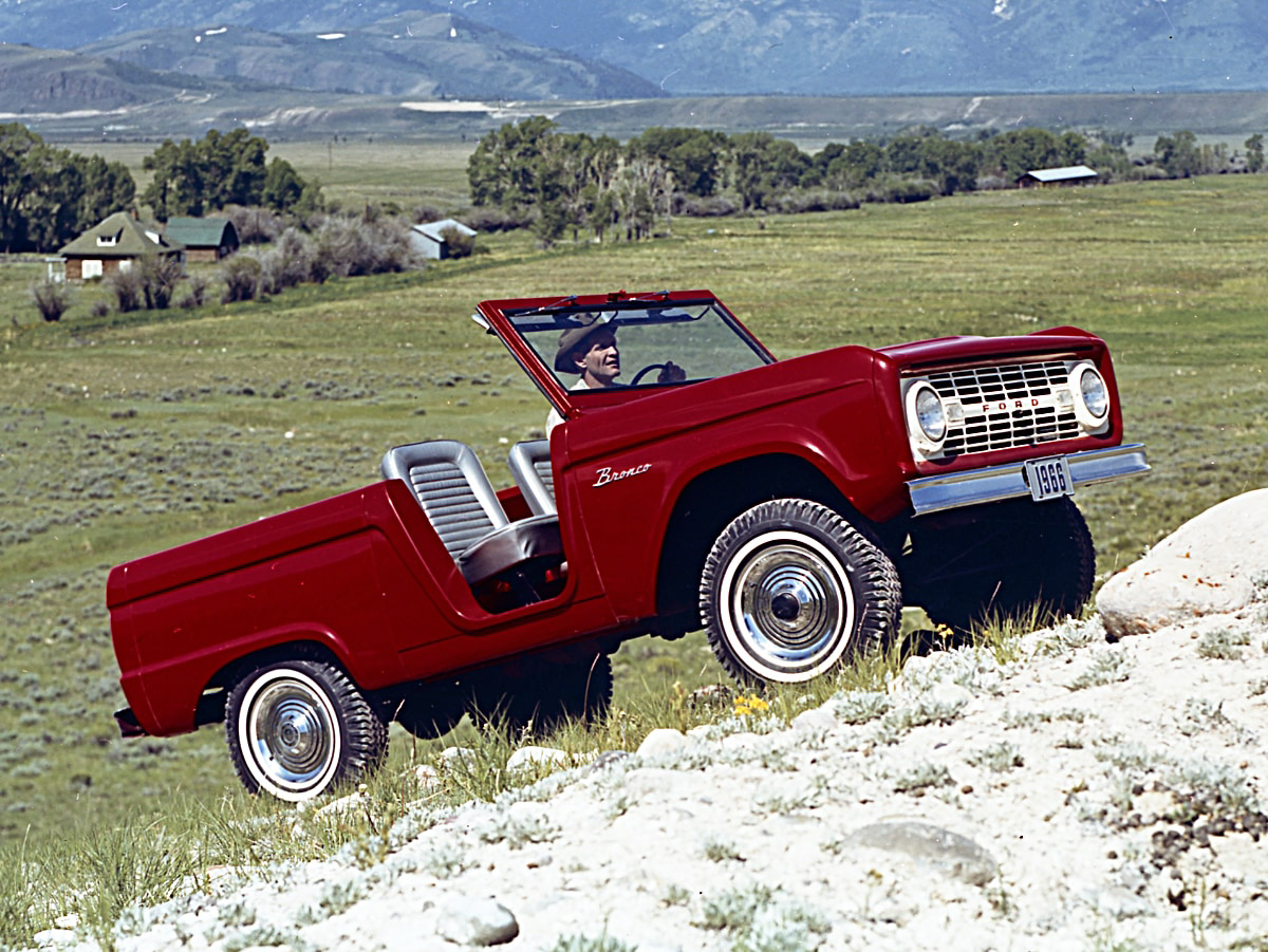 Red 1966 Ford Bronco Top Off Doors Off