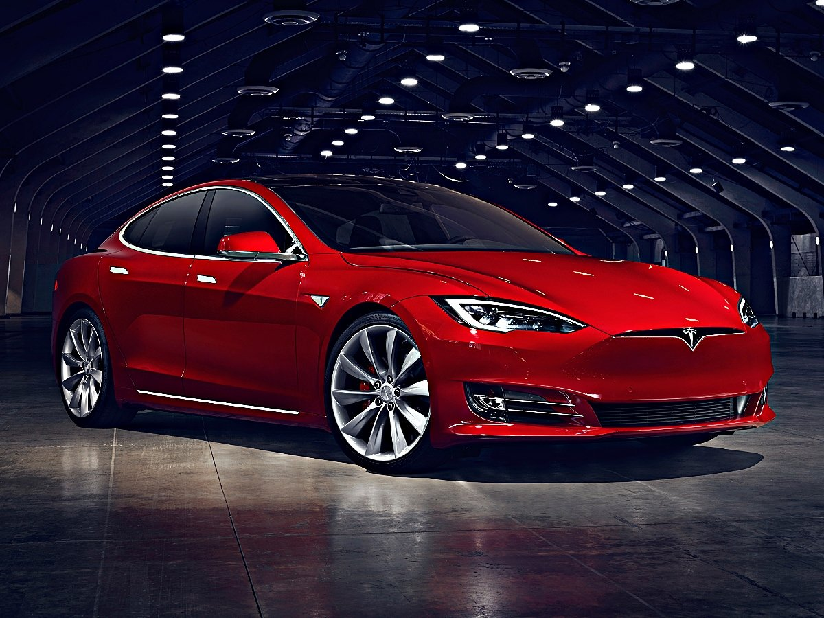 Tesla Model S front view in red
