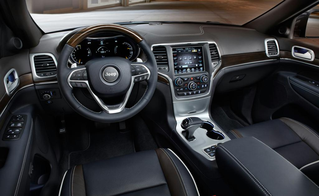 The 2014 Grand Cherokee Is Equipped With A New Leather Wrapped, 3 Spoke  Steering Wheel, Leather Wrapped E Shifter Transmission Selector On The  Center ...